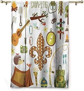 SONGDAYONE Multi-Pattern Roman Curtain Fleur de Lis Modern Design Camping Equipments Boy Scout Campfire Symbol Fishing Lure Fancy Decorations Lake,W27 x L64 Brown Mustard Green White