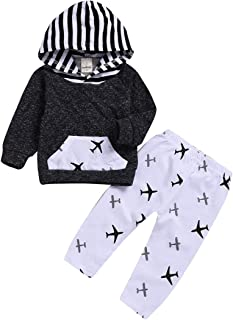 Baby Boy Girl Hoodie Outfits Infant Airplane Long Sleeve Hoodie Tops Sweatsuit Pants Clothes Set