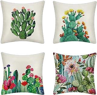 MIGUOR Juego de 4 fundas de almohada decorativas de lino y algodón, diseño cuadrado de plantas y animales, para sofá, sofá, banco, cama, coche, 45 x 45 cm, color blanco cactus, 45 x 45 cm