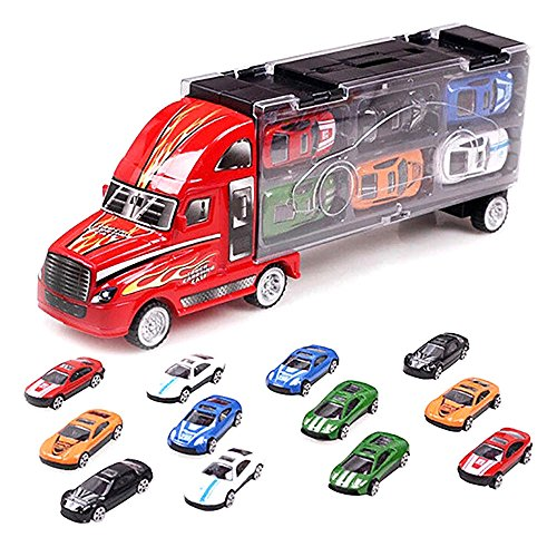 Huayang Auto Camion Voiture Sacoche + 12 Voitures de Courses Modèle de Simulation Noël Cadeau