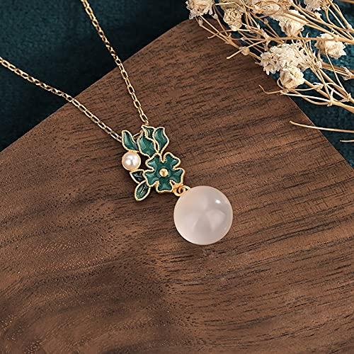 Feng Shui Healing Jade Necklace Lucky Flower Charm Blanco Calcedonia Pearl Colgante Collar Collar de Riqueza de Oro Prosperidad Amor de Amor Dinero