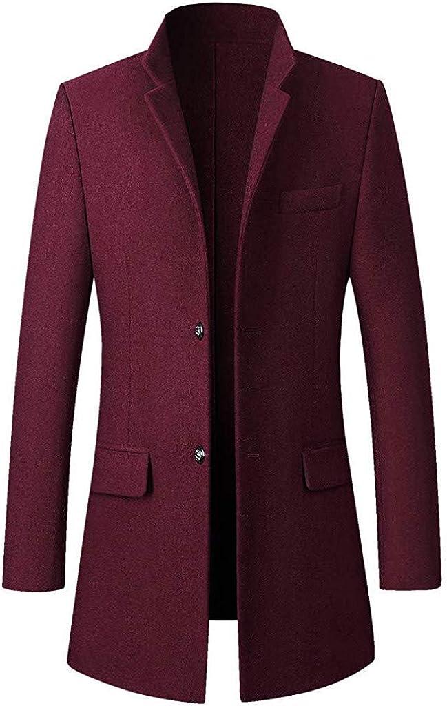 Berrykey Casual Men's Long Trench Coat Warm Winter Snow Coat Windbreaker Button Business Long Overcoat Jacket Outwear