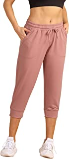 icyzone Women's French Terry Jogger Lounge Sweatpants - Active Capri Pants for Women