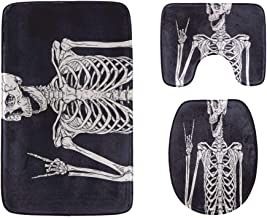 Skeleton Wearing Headphones Bathroom Rug Mats Set 3-Piece,Soft Shower Bath Rugs,Contour Mat and Toilet Seat Lid Cover Non-...