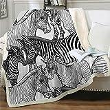 Fleecedecke 3D gedruckt Kuscheldecke Tier Zebra Plüschdecke Warme Tagesdecke Sherpa Flanell Wurfdecke für Erwachsene Kinder Freizeit Couch Stuhl Weiche Decke 130x150 cm