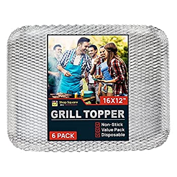 Shop Square Disposable Grill Topper  6 Pack  Rectangular 16x12 Vegetable and Meat Grill Tray for Outdoor BBQ Grill Disposable Grilling Liners Prevents Food from Falling Through Grill Grates