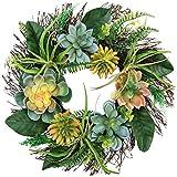 Valery Madelyn 15,7Pouces/40cm Couronne de Fleurs de Printemps,Décoration de Printemps avec des Plantes Succulentes et Feuilles Artificielles pour Porte d'entrée-pour la Fête des Mères