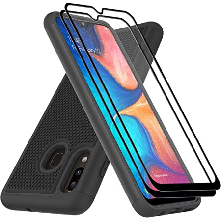 Dahkoiz Case Compatible for Samsung Galaxy A20/A30 Case with Tempered Glass Screen Protector, Sturdy Durable Armor Defender Cover Dual Layer Hybrid Protective Phone Cases for Galaxy A20/A30, Black