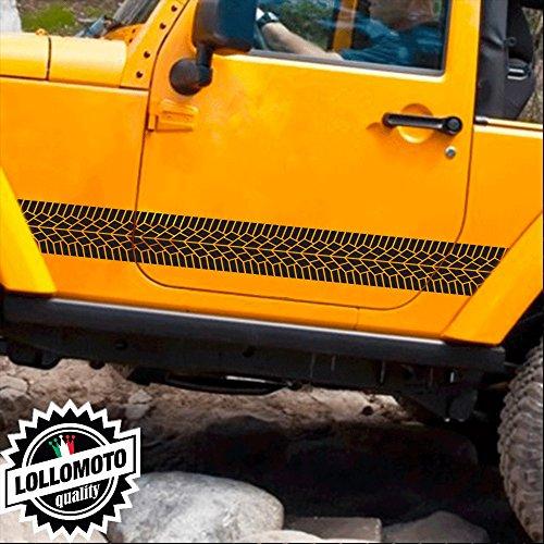 Lollomoto 2X Strisce Texture Pneumatico Tyres 4x4 off Road Fuoristrada Adesivi Stickers Fiancate Auto Strip Decal - Nero Lucido