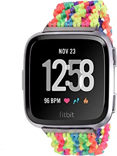 Bandmax Compatible for Colorful Fitbit Versa Watch Bands LGBT Gay Pride Nylon Woven Braided Bohe Fitbit Versa Sport Straps...