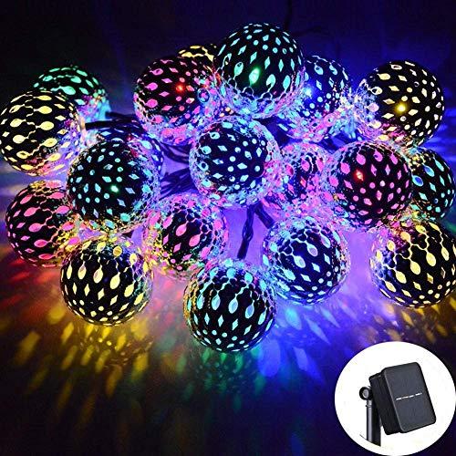 Luces solares LED, 50 Luces de Bolas de Globo, Luces LED de Cadena de 23 pies, Linterna con energía Solar, iluminación navideña para Fiestas en el Patio del jardín al Aire Libre