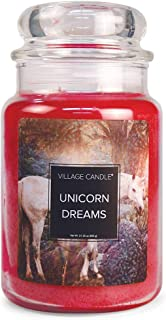 Village Candle Unicorn Dreams Large Glass Apothecary Jar Scented Candle, 21.25 oz, Pink