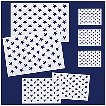 Whaline 7 Pieces American Flag 50 Stars Stencil Template for Painting on Wood Fabric Paper Airbrush Walls Art 2 Large 2 Medium and 3 Small for Flag Day Independence Day