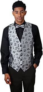 Men's Silver Music Notes Pattern Vest and Bow Tie Set