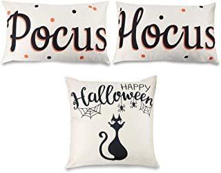 ZJHAI Hocus Pocus Halloween Throw Pillow Covers Home Decor Cotton Linen Pillow Case Cushion Covers Set of 3, 12x20 inches, 18 x 18 inches