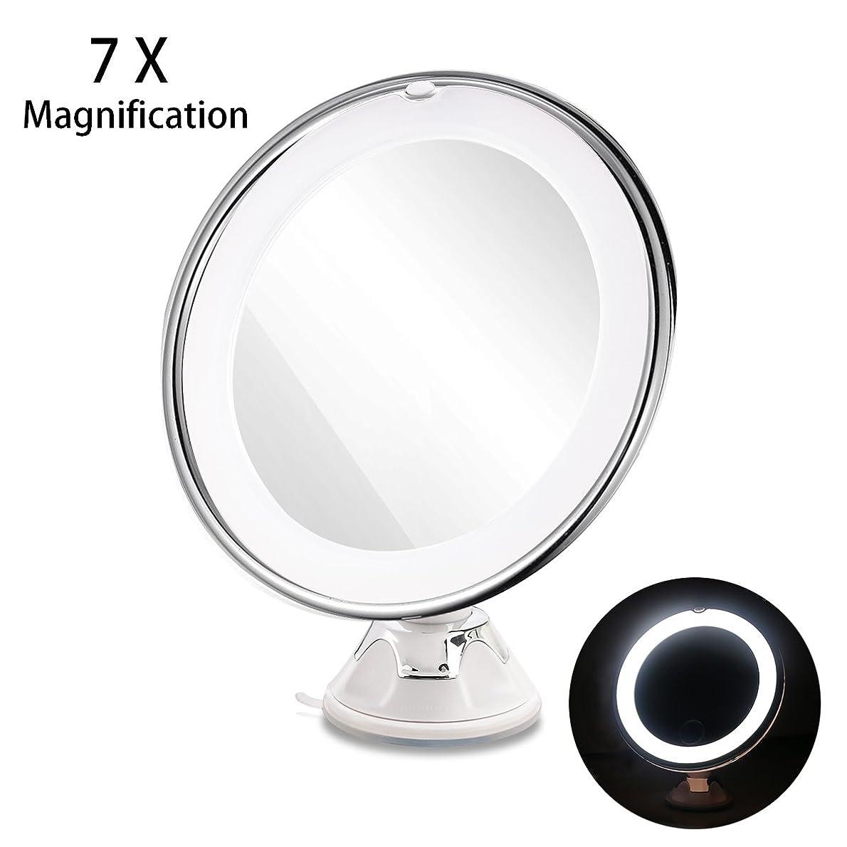 パシフィック記事国際RUIMIO 化粧鏡 メイクアップミラー 7倍拡大鏡 LED化粧鏡 円型 浴室鏡 卓上鏡 強力吸盤ロック付き 壁掛けメイクミラー 360度回転スタンドミラー 電池式(ついてません)