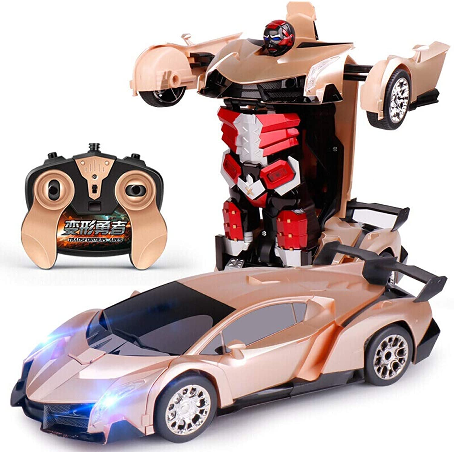 Kikioo Rechargeable Deformed Remote Control Car 2.4Ghz Traansformmers Robot Laamborgnini Toys with One Touch Transform Autobot Radio Controlled Drifting Sound Lights Holiday Birthday Gifts gold
