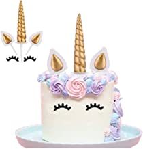 Yashell 9625321410 Topper, Reusable Gold Horn,Ears and Eyelashes Cake Value Set for Unicorn Party Decoration for Baby Shower,Weddin