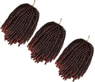 3 Pack Spring Twist Ombre Colors Crochet Braids Synthetic Braiding Hair Extensions Low Temperature Fiber (T1B/350)