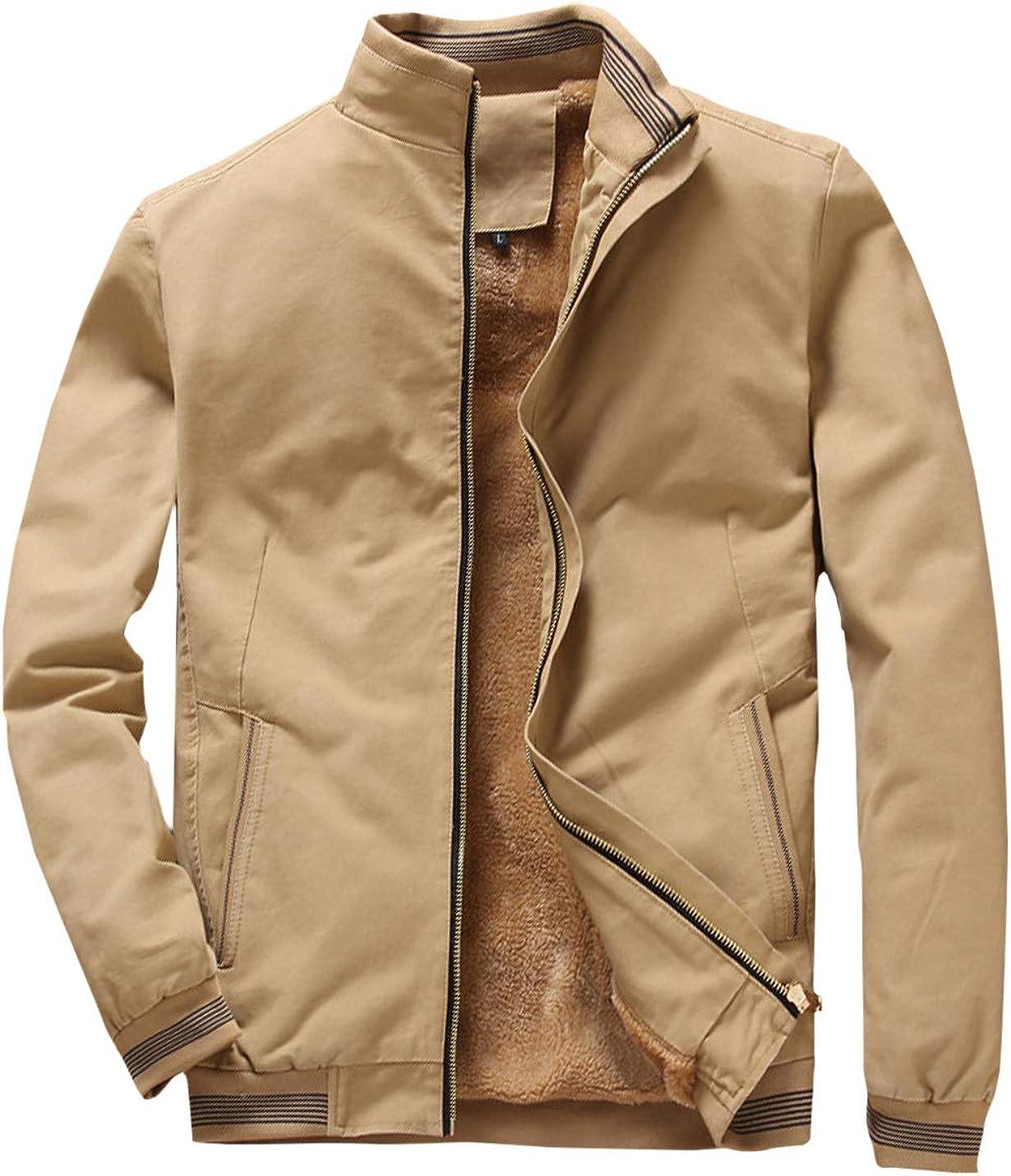 Yeokou Mens Fleece Lined Warm Solid Casual Windbreaker Stand Collar Bomber Jackets