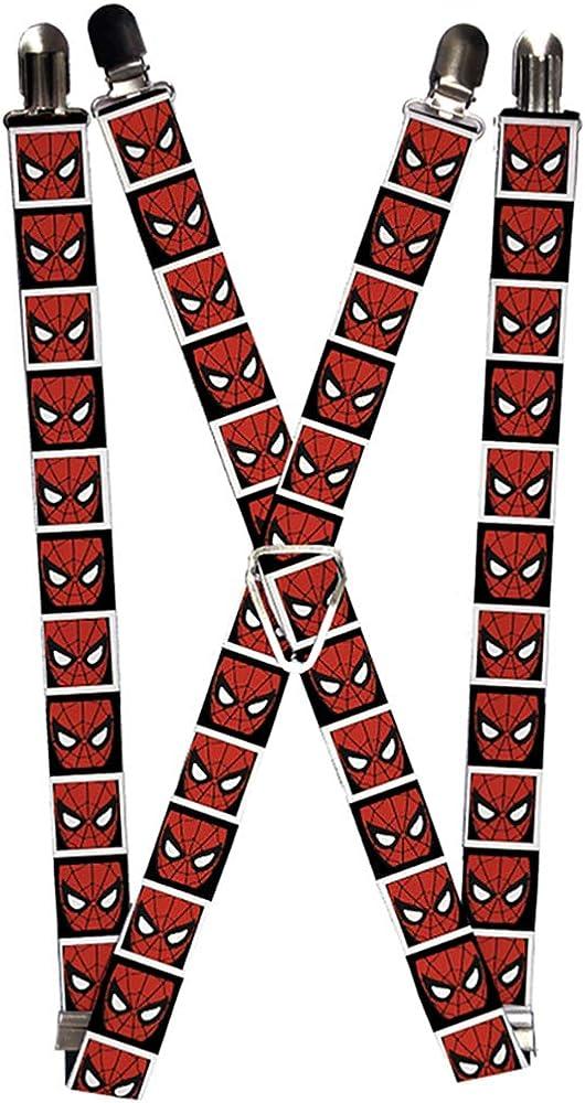 Buckle-Down Marvel Comics Suspenders-Spider-Man Face Black/White Block