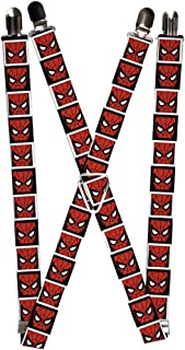 "Buckle-Down Marvel Comics Suspenders-Spider-Man Face Negro/Blanco Bloque, Multicolor, 3.5"" x 2.5"""