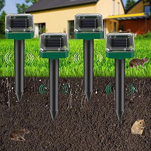 4 Piezas Repelente de Ratones Solar Ultrasónico, Ahuyentador de Topos Solar, IP65 Repelente Ultrasónico para Animales, Repelente de Topo para Jardines,Céspedes,Roedores,Serpientes, Hormigas,Topillos