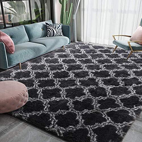 Leesentec Hochflor Teppich Wohnzimmerteppich Langflor - Flauschig Teppiche für Wohnzimmer und Schlafzimmer - Modern Design Shaggy Teppich (Dunkles Schwarz, 140 x 200 cm)