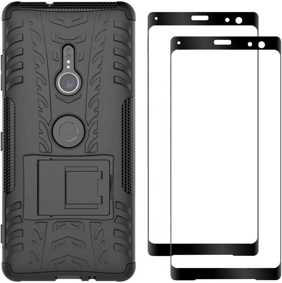 FANFO® Sony Xperia XZ3 Soporte Plegable Funda + [2 Pack] Cristal Templado, Negro