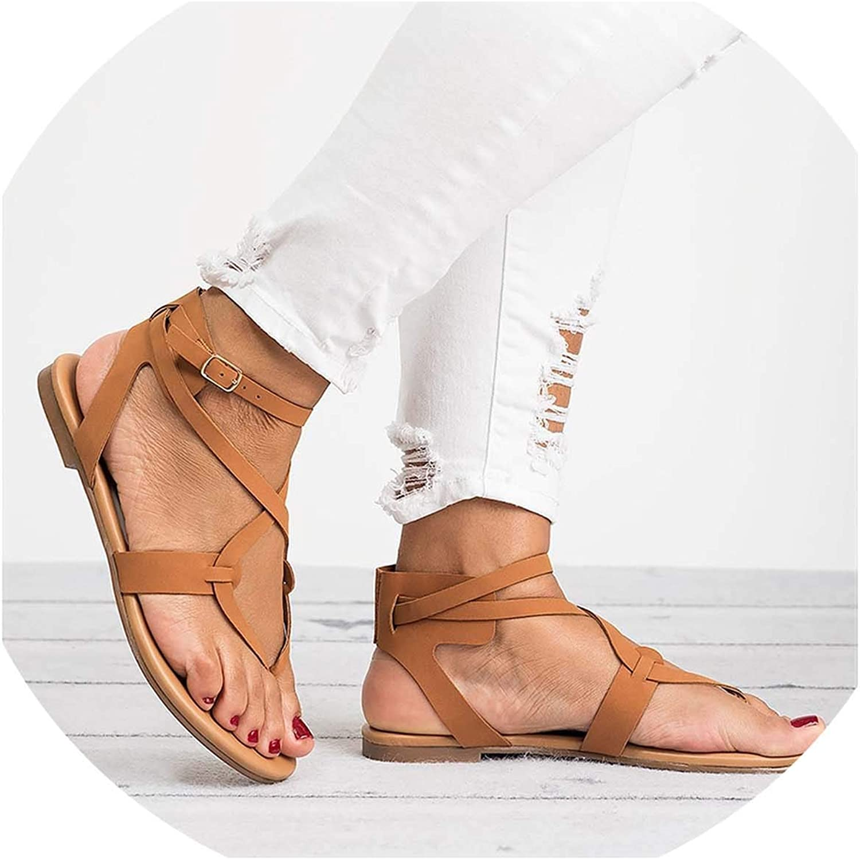 HuangKang Women Sandals for Summer shoes 2019 New Gladiator Sandals shoes Female Ankle Strap Flat Sandals Flip Flop