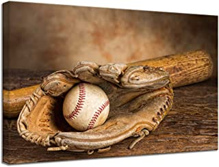 VIIVEI Retro US Sports Baseball Glove American Flag Vintage Wall Art Canvas Print Home Decor Picture for Living Room Bedroom Painting Poster Framed to Hang(16