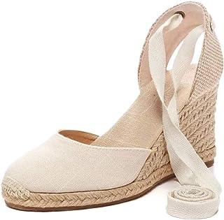 e608887e4e5701 Tomwell Sandales Femmes Mode Espadrille Lanière Sandals Talon Compensé  Plateforme Été Casual Romaines Sandals Doux
