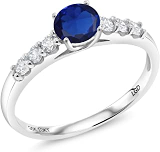 Gem Stone King 0.86 Ct Round Blue Simulated Sapphire G-H Lab Grown Diamond 10K White Gold Ring