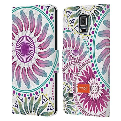 Head Case Designs Oficial Emoji Mandala Hippie Chic Carcasa de Cuero Tipo Libro Compatible con Samsung Galaxy S5 / S5 Neo
