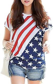 Women American Flag T Shirt Irregular Hem Casual Summer Tops