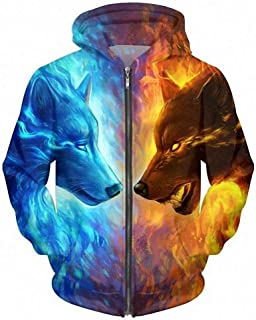 MIGAGA Ice and Fire 3D Wolf Zipper Hoodies Unisex Sweatshirts Men Hooded Cardigan