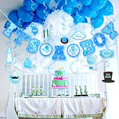 Baby Shower Decorations for Boy Its A BOY Baby Shower Decorations Hanging Banner for Baby Boy Shower Room Decoration Kit