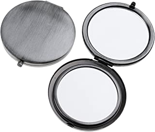 Blesiya 2Pieces Travel Compact Makeup Mirror Premium Double Folding Cosmetic Mirrors - Classic Silver, as described