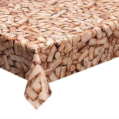 Haga-wohnideen.de - Tovaglia da 1,4 m² in tela cerata, motivo tappi di sughero, in PVC, 140 cm di larghezza