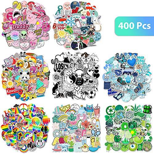 400 pegatinas de vinilo Vsco con 8 juegos de pegatinas de vinilo estéticas impermeables a la moda Vsco Girls pegatinas para hidromatraces, botella de agua, portátil, teléfono, monopatín, equipaje