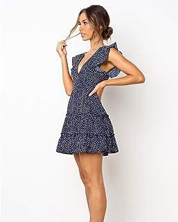 GQSC Vestidos Cortos de Verano de Europa y América, nuevos Plisados Las Mujeres Vestido de Flores con Volantes (Color : A, Size : M)