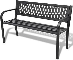 vidaXL Banco de Jardín con Respaldo Acero PVC Negro 118x50x75 cm Asiento Patio