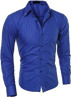 KLJR Men Casual Print Button Down Long Sleeve Dress Work Shirt