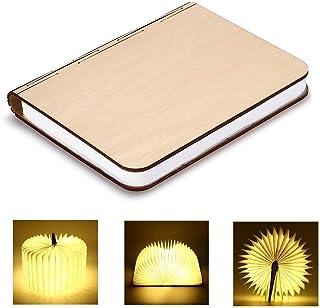 LEDブックライト木製折りたたみテーブルランプUSB充電ナイトライト内蔵2500mAリチウムバッテリーベッドサイドランプホームホリデーインテリアギフト(ウォームホワイト),Beige