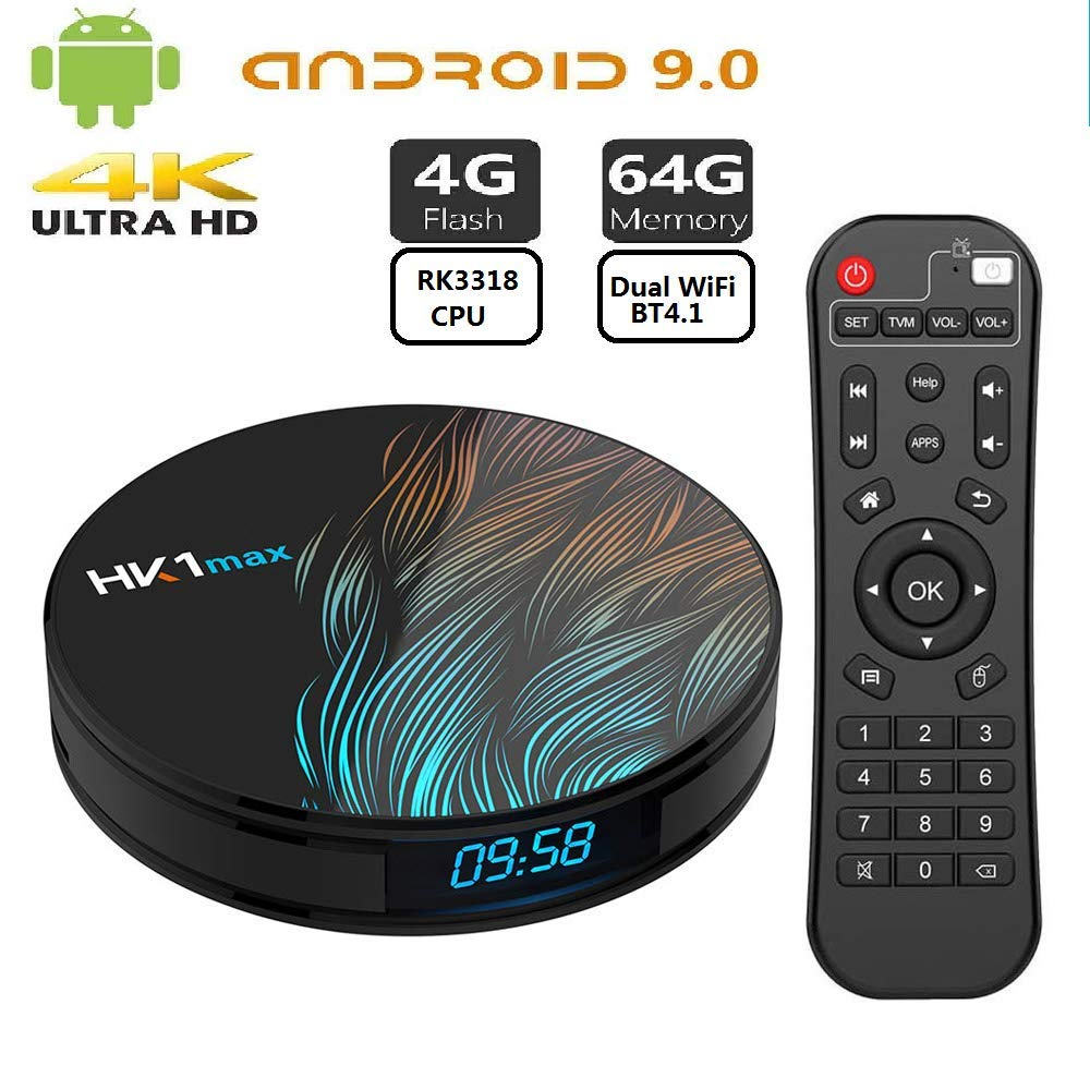 Android TV Box 9.0 HK1 MAX RK3318 Smart TV Box 4GB RAM 64GB ROM con Doble WiFi Soporte Bluetooth 4.1 HD 4k Smart Set Top TV Box: Amazon.es: Electrónica
