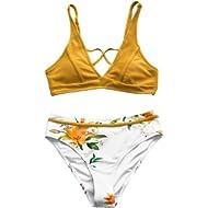 CUPSHE Women's Cross Front Sunny Bay Floral Bikini