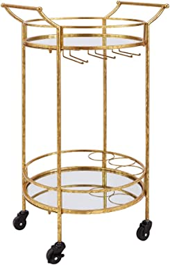 Linon Round Bar Cart, Gold