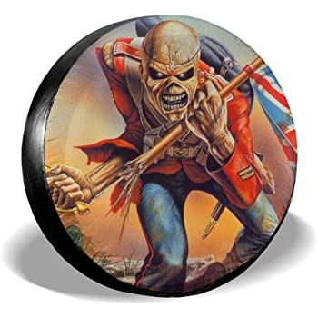 66JR Spare Tire Covers Iron Maiden The Number of The Beast Print Trailer,RV,SUV,Truck and Vehicle Wheel 14 15 16 17 Wheel Tire Cover Weather-Proof Universal Fit for Jeep