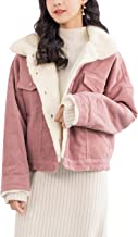 Gihuo Women's Vintage Corduroy Sherpa Fleece Lined Jacket Thickened Warm Quilted Jacket