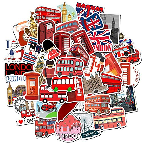 HUNSHA Red Bus Phone Booth Cartoon Series Sticker Luggage Water Cup Notebook Sticker 50Pcs